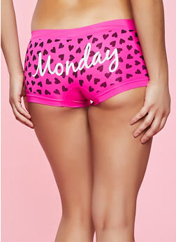 Day of the Week Heart Print Seamless Boyshort Panty - 5150035161488
