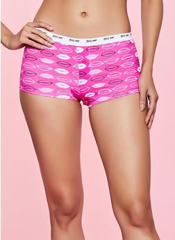Kiss Me Lip Print Boyshort Panty - 5150035161491