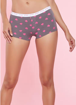 Heart Print Boyshort Panty - CHARCOAL - 5150035161931