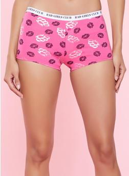 Lip Print Boyshort Panty - FUCHSIA - 5150035162400