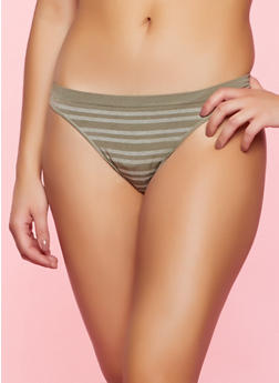 Seamless Striped Thong Panty - 5162064871117