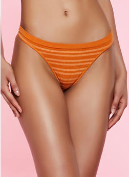 Striped Seamless Thong Panty - 5162064873058
