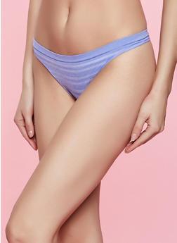 Blue Seamless Striped Thong Panty - 5162064874309