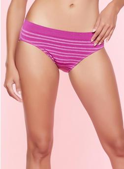 Seamless Striped Bikini Panty - WINE - 5162064878632