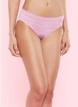 Seamless Striped Bikini Panty - PINK - 5162064878632