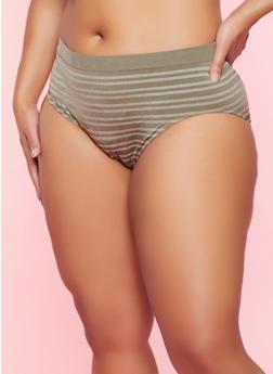 Plus Size Striped Seamless Bikini Panty - 5166064871118