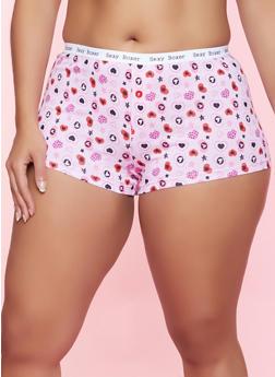 Plus Size Heart Star Print Boyshort Panty - 5166064872361