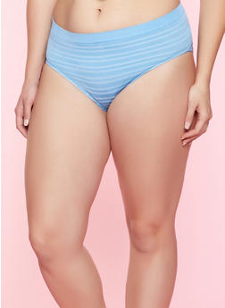 Plus Size Striped Seamless Bikini Panty - BABY BLUE - 5166064878632