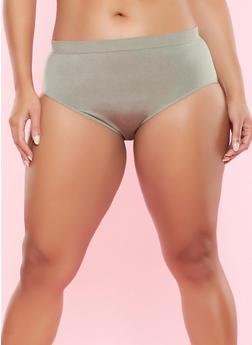 Plus Size Seamless Bikini Panty - OLIVE - 5166064878763