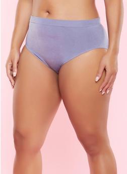 Plus Size Seamless Bikini Panty - CHAMBRAY - 5166064878763