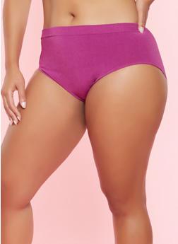 Plus Size Seamless Bikini Panty - PURPLE - 5166064878763
