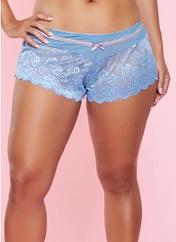 Plus Size Mesh Insert Lace Boyshort Panty - 5166064879226