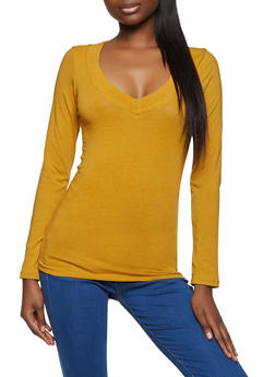Solid V Neck Top - 5204054261573