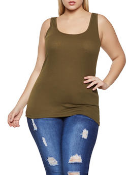Plus Size Ribbed Scoop Neck Tank Top - 5241054266601