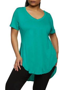 Plus Size Round Hem V Neck Tee - 5242054260491