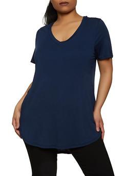 Plus Size Round Hem V Neck Tee - 5242054260491