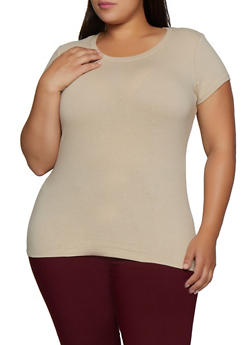 Plus Size Short Sleeve Basic Crew Neck Tee - 5242054264000