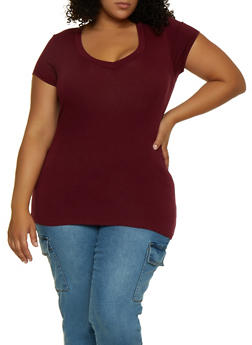 Plus Size V Neck Top | 5242054265000 - 5242054265000