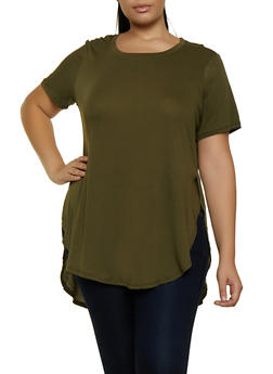 Plus Size Oversized Scoop Neck Tee - 5242054269411