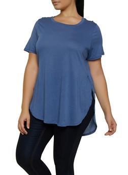 Plus Size Oversized Scoop Neck Tee - 5242054269411