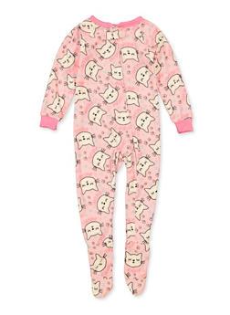 Girls Cat Print Footed Pajamas - 5301054730021