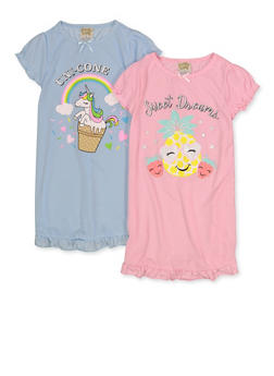 Girls Set of 2 Graphic Nightgowns - 5322054730001