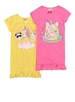 Girls 2 Pack Unicorn Graphic Nightgowns - 5322054730008