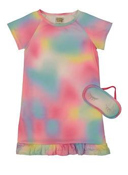 Girls Tie Dye Nightgown with Sleep Mask - 5322054730330