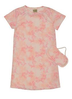 Girls Unicorn Print Nightgown with Sleep Mask - 5322054730331