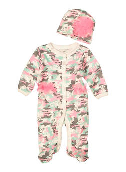 Baby Girls Camo Print Jumpsuit and Hat - 5501076250104