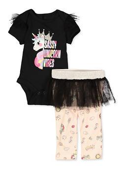 Baby Girls Sassy Unicorn Vibes Bodysuit with Skirted Leggings - 5506063375050