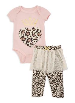 Baby Girls Leopard Heart Bodysuit with Skirted Leggings - 5506073990028