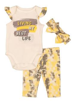 Baby Girls Living My Best Life Bodysuit and Tie Dye Leggings - 5506076252002