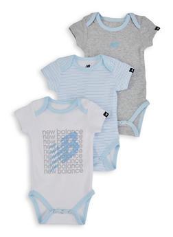 Baby Boys 3 Pack Blue Contrast Trim Bodysuits - 5508061950007