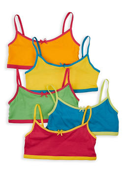 Girls 7-16 5 Pack Colored Cami Bras - 5568054731002