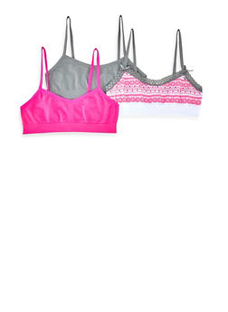 Girls 4-16 3 Pack Aztec and Solid Cami Bras - 5568054731051