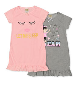 Girls 4-16 Set of Two Graphic Nightgowns - 5568054731551