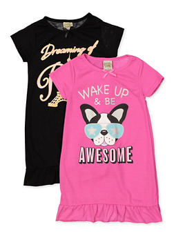 Girls 4-16 Set of 2 Graphic Nightgowns - 5568054731552
