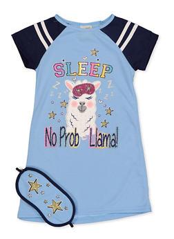 Girls 4-16 No Prob Llama Nightgown with Sleep Mask - 5568054731600