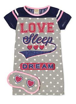 Girls 4-16 Love Sleep Dream Nightgown with Sleep Mask - 5568054731601