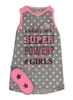 Girls 4-16 Super Powers Nightgown with Sleep Mask - 5568054731650