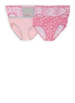 Girls 7-16 Pack of 5 Printed and Solid Panties - 5568054731702