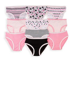 Girls 7-16 Set of 10 Mixed Print Panties - 5568054731952