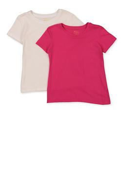 Girls 4-6x Basic White and Pink Tees - 5603038340004