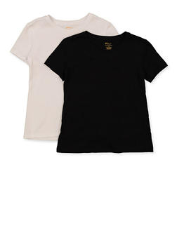 Girls 7-16 Basic White and Black Tees Set of 2 - 5604038340001