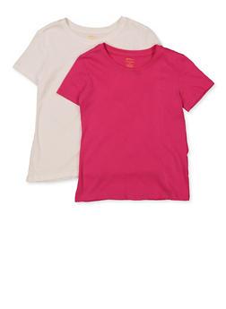 Girls 7-16 Basic White and Pink Tees Set of 2 - 5604038340005