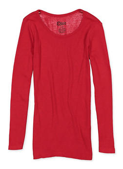 Girls 4-16 Long Sleeve Ribbed Tee - 5604061950033