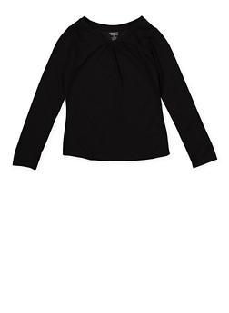 Girls 7-16 French Toast V Neck Long Sleeve Tee | Black - 5604068320031