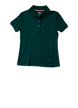 Girls 4-6x Short Sleeve Interlock Polo School Uniform - HUNTER - 5801008930030
