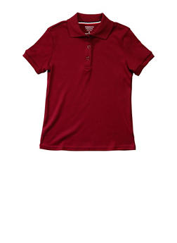 Girls 4-6x Short Sleeve Interlock Polo School Uniform - WINE - 5801008930030